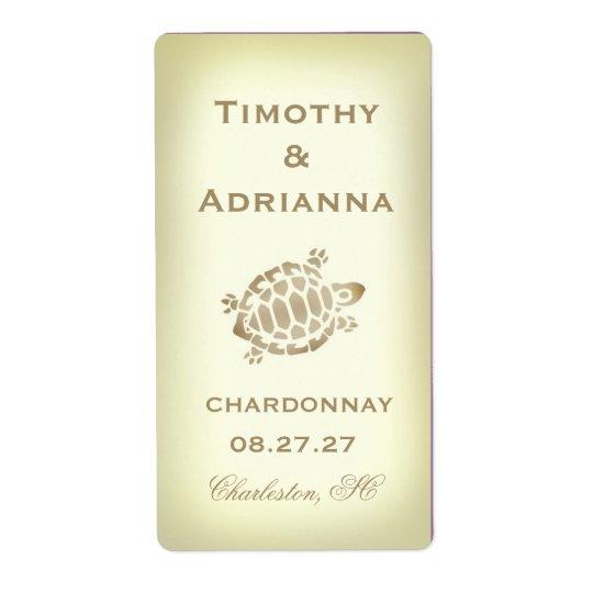 GC Sea Turtle Wedding Wine Label