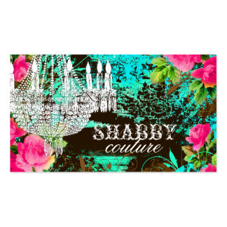 GC Shabby Aqua Garden Chandelier Double-Sided Standard Business Cards (Pack Of 100)