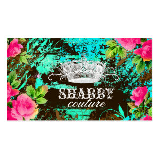 GC Shabby Aqua Garden Tiara Double-Sided Standard Business Cards (Pack Of 100)