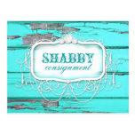 GC Shabby Vintage Aqua Wood Sticker Postcard