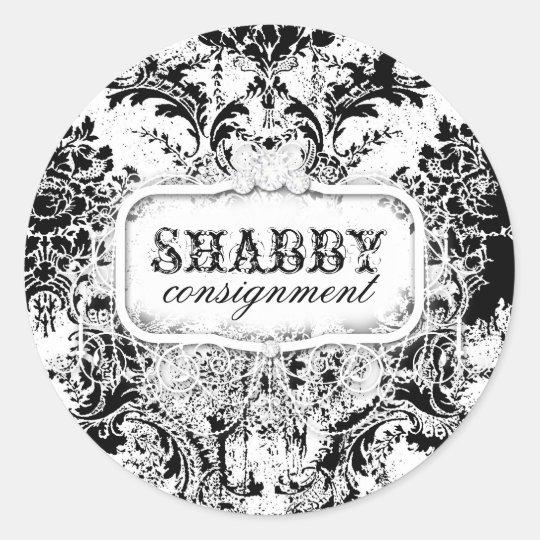 GC Shabby Vintage Black & White Sticker