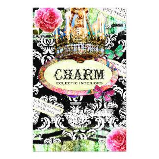 GC | SHABBY Vintage Charm - Black Damask 14 Cm X 21.5 Cm Flyer