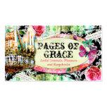 GC | Shabby Vintage Charm Black Damask Business Card Templates