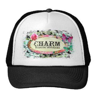 GC   SHABBY Vintage Charm - Black Damask Cap