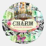 GC Shabby Vintage Charm - Black Damask Round Sticker