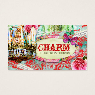 GC | Shabby Vintage Charm - Red Turquiose Damask Business Card