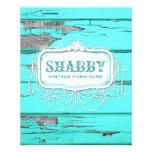 GC Shabby Vintage Wood Aqua Flyer