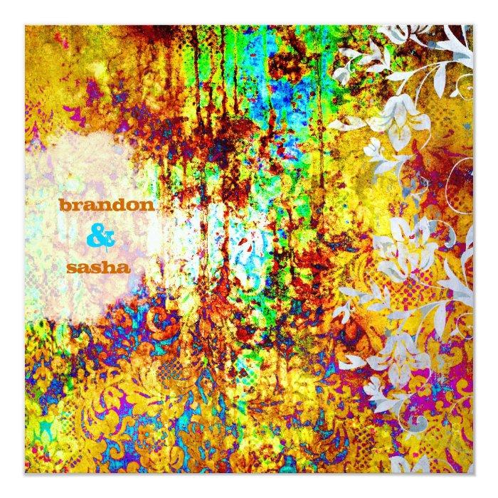 GC | Sunken Treasure | Vibrant | Flower 13 Cm X 13 Cm Square Invitation Card