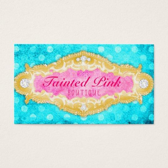 GC Tainted Aqua Pink & Gold Polka Dots Business Card