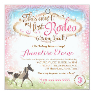 GC This Ain't My First Rodeo 3rd Birthday 13 Cm X 13 Cm Square Invitation Card