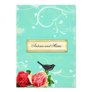 GC Vintage Bird & Rose Turquoise Dream Card