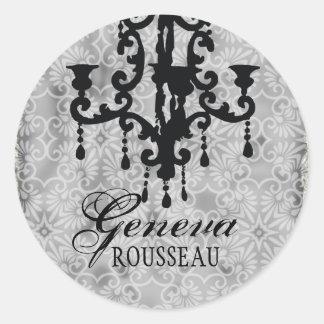 GC   Vintage Chandelier Gris Classic Round Sticker
