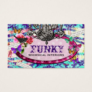 GC | Whimsical Vintage Charm Purple Blue Business Card