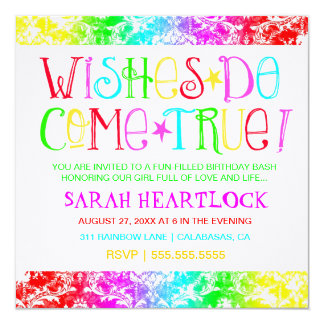 GC Wishes Do Come True Rainbow Damask Card