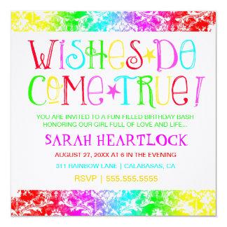 """GC Wishes Do Come True Rainbow Damask 5.25"""" Square Invitation Card"""