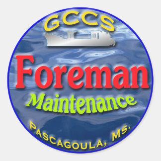 GCCS-maint.foreman2 Classic Round Sticker