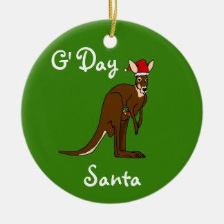 G'Day Santa Christmas Kangaroo Ornament