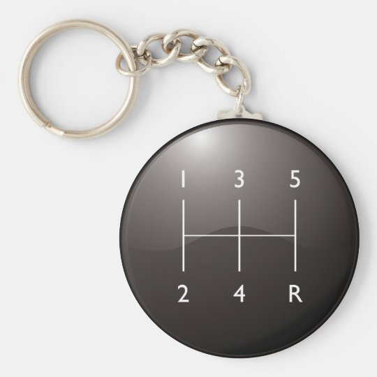 Gear Shifter Basic Round Button Key Ring