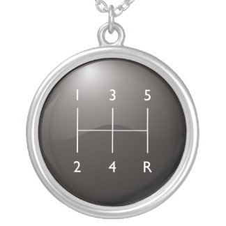 Gear Shifter Silver Plated Necklace