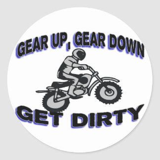 Gear Up Get Dirty Motocross Classic Round Sticker
