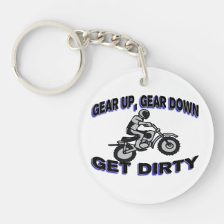 Gear Up Get Dirty Motocross Double-Sided Round Acrylic Key Ring
