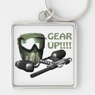 Gear Up Silver-Colored Square Key Ring
