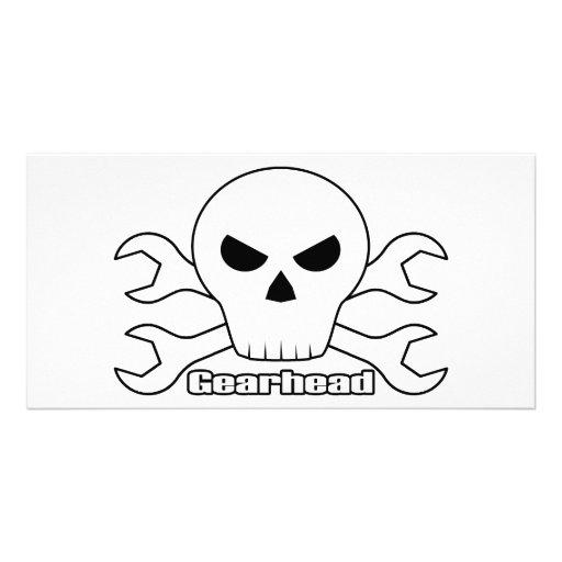 Gearhead Skull Customized Photo Card