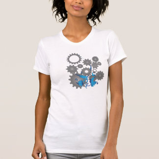 Gears and flowers t shirts