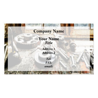 Gears and Wrenches in Machine Shop Business Card Template