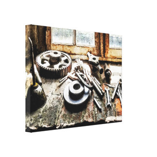 Gears and Wrenches in Machine Shop Gallery Wrapped Canvas