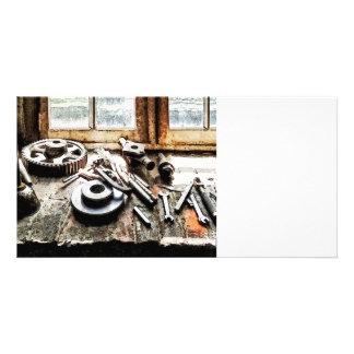 Gears and Wrenches in Machine Shop Photo Cards