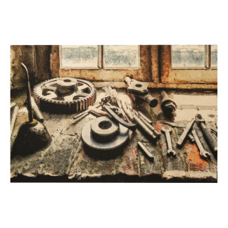 Gears and Wrenches in Machine Shop Wood Canvas