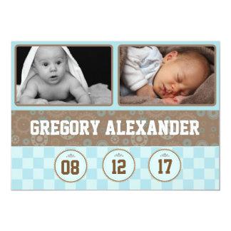 Gears Boy Photo Birth Announcement