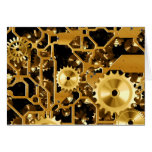Gears Gold Clock Grunge Steampunk Office Destiny Card