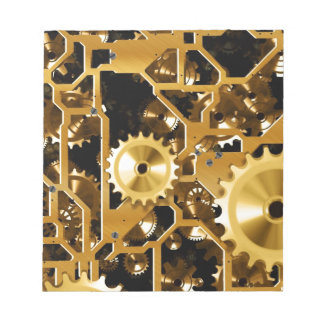 Gears Gold Clock Grunge Steampunk Office Destiny Notepad