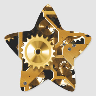 Gears Gold Clock Grunge Steampunk Office Destiny Star Sticker
