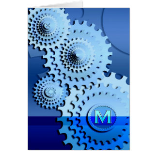 Gears - M - Monogram Greeting Card