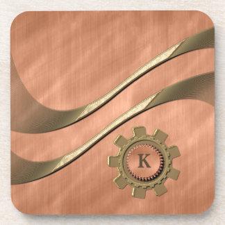 Gears on Copper Drink Coaster