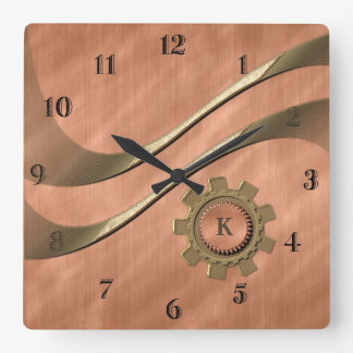 Gears on Copper Wallclock