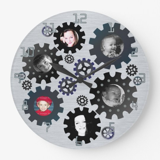 Gears Photo Frames Wall Clock