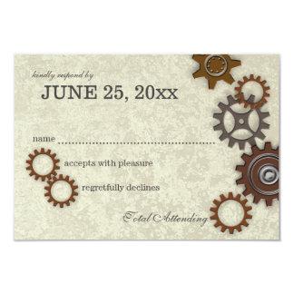 Gears Rustic Industrial Wedding Response 9 Cm X 13 Cm Invitation Card