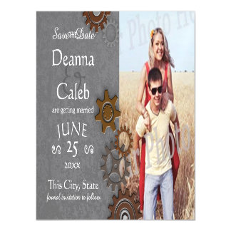 Gears Steel Industrial Photo Save the Date Magnetic Invitations