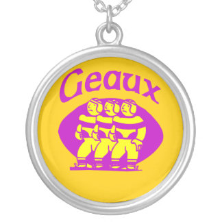 Geaux Purple and Gold Round Pendant Necklace