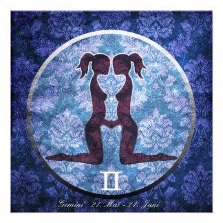 Geburtstagskarte Sternzeichen Zwillinge Personalisierte Einladungskarte