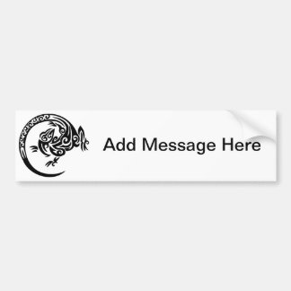 Gecko Black and White Swirl Design Car Bumper Sticker