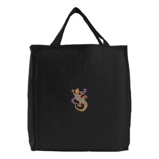 Gecko Embroidered Tote Bag