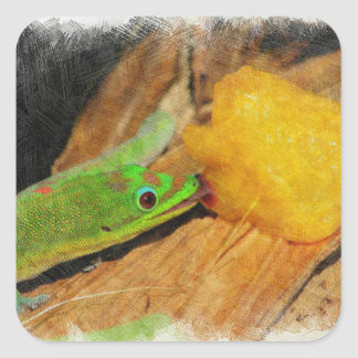 Gecko enjoying Peaches Square Sticker