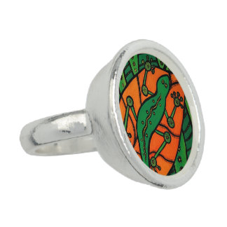 Gecko Green And Orange Ring