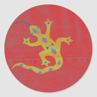 Gecko in Red Classic Round Sticker