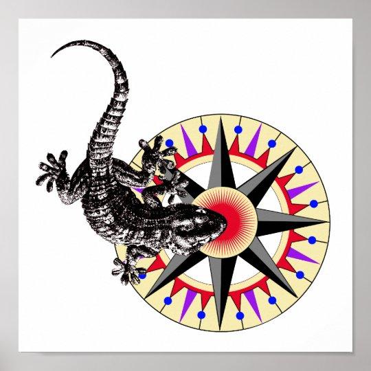 Gecko Lizard & Compass Rose Poster